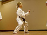 Adison and Pat sparring as Sensei Holmes observes.
